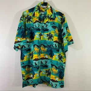 Lvish Men's Hawaiian Print Button Up Summer Shirt